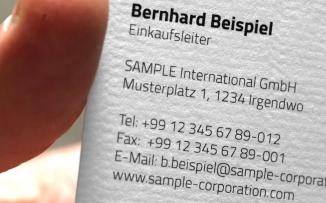 Visitenkarten ab 250 Stück, 220 g/qm geripptes Papier, weiß