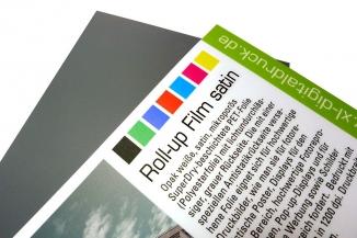 Nur-Druck auf Roll-Up-Film satin mit UV-Schutzfolie matt für Displays